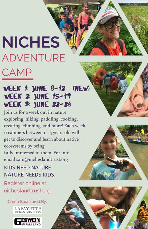 Flyer of the 2020 Summer Camp with NICHES Land Trust